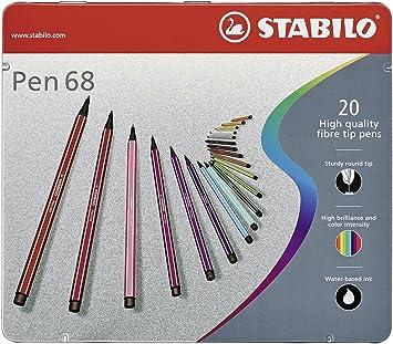 Premium Filzstift Stabilo Pen 68 20er Metalletui Mit 20 Verschiedenen Farben Bürobedarf Schreibwaren