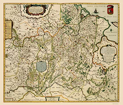 Old Eastern Europe Map - Lithuania - Blaeu 1648 - 23 x 26.95 - Matte ...