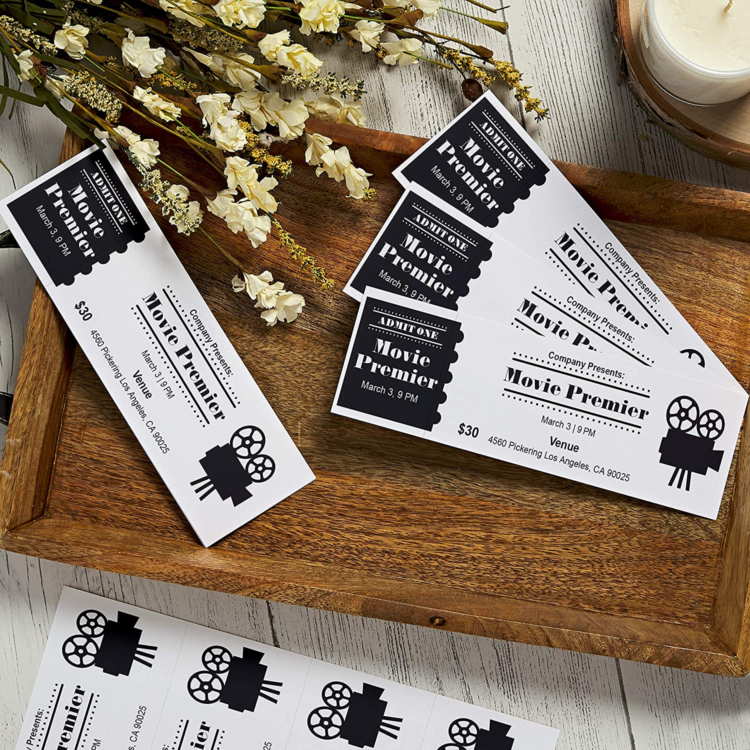 "Avery Printable Tickets, 2.75"" x 8.5"", Laser/Inkjet, 100 Tickets, Great for Raffle Tickets (16430), White, 4 Tickets per Sheet"