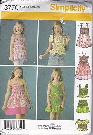 975eda10f Patrón de costura Simplicidad 3770 KS Niñas Verano Top vestido falda tamaño  7 - 14: Amazon.es: Juguetes y juegos
