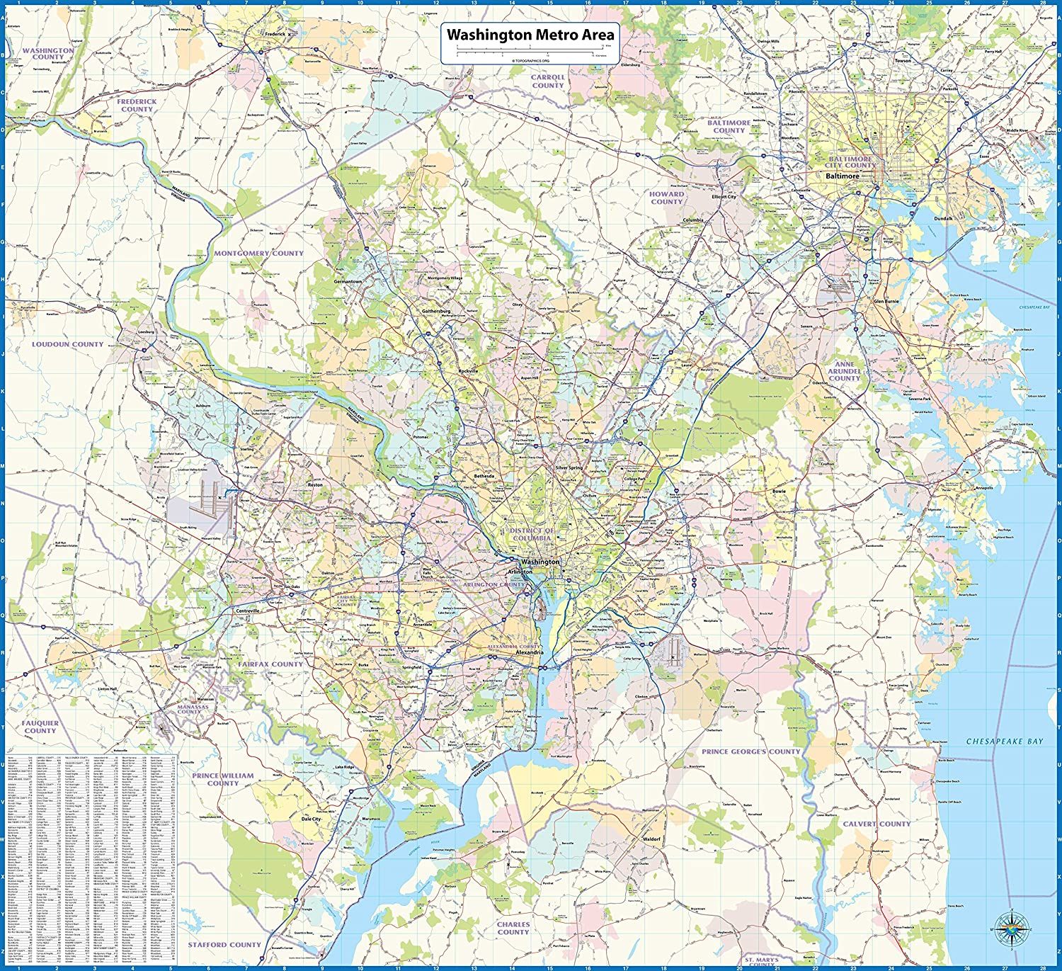 Map Of Washington Dc Metro Amazon.: Washington DC Metro Area Laminated Wall Map : Office