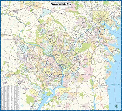 Amazon Com Washington Dc Metro Area Laminated Wall Map Office