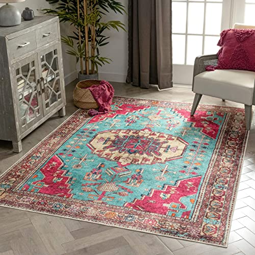 "Well Woven Shasta Blue Fuchsia Machine Washable Vintage Style Updated Classic Distsressed Persian Area Rug 8x10 7'10"" x 9'10"""