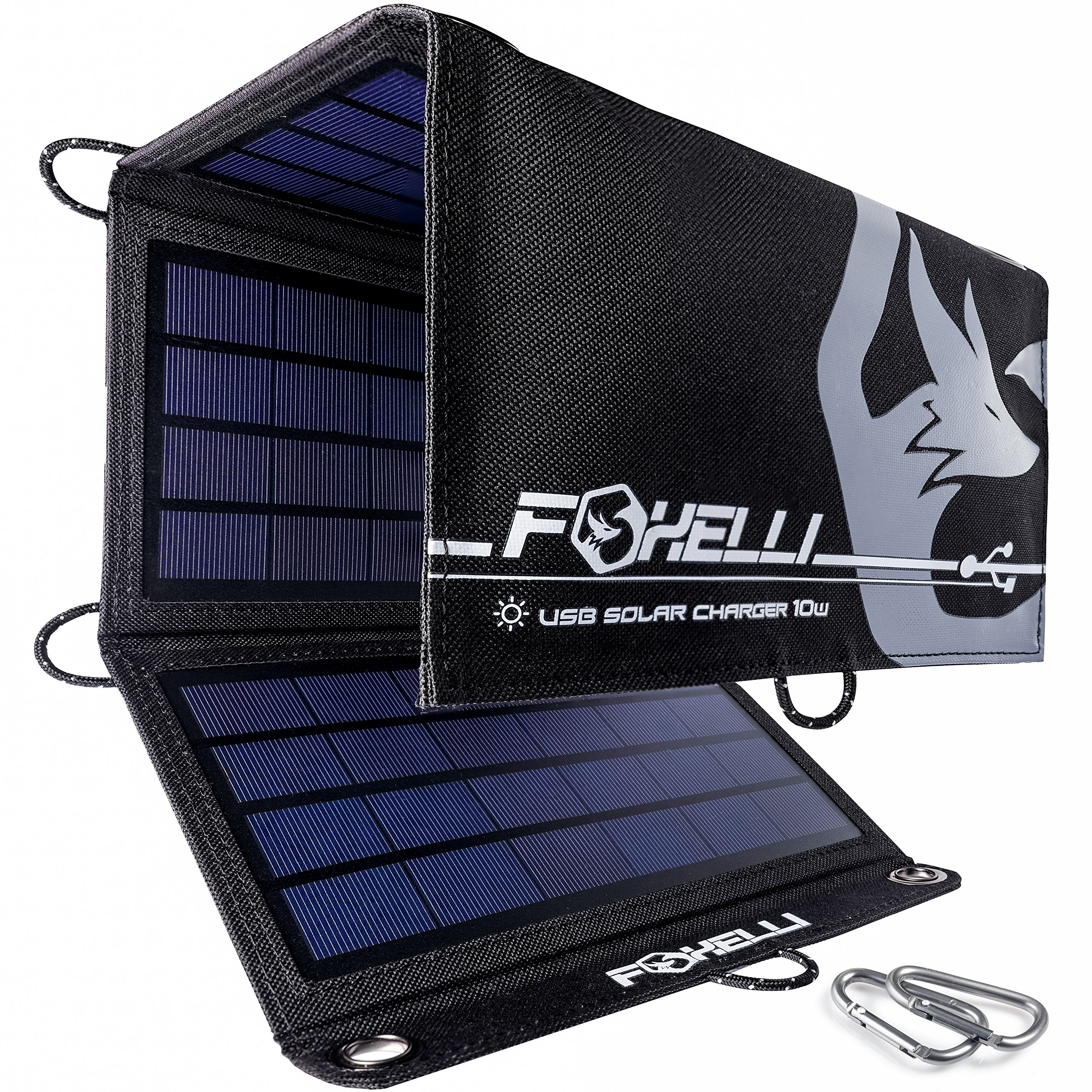 Foxelli Dual USB Solar Charger 10W - Foldable Solar Panel Phone Charger for iPhone & Android Smartphones, iPads, Android Tablets, Power Banks & More, Portable Solar Power for Camping & Outdoors by Foxelli