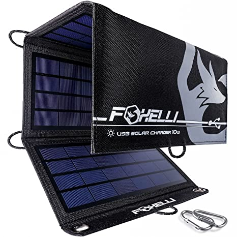 89bdf9a92d9d Foxelli Dual USB Solar Charger 10W - Foldable Solar Panel Phone Charger for  iPhone & Android