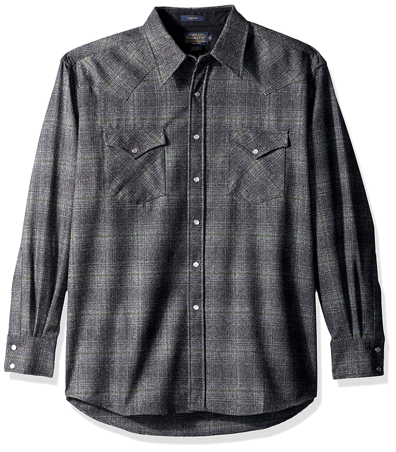 Pendleton メンズ長袖キャニオンシャツ B06XPWDC3Q L|Oxford Grey/Sage Ombre Oxford Grey/Sage Ombre L