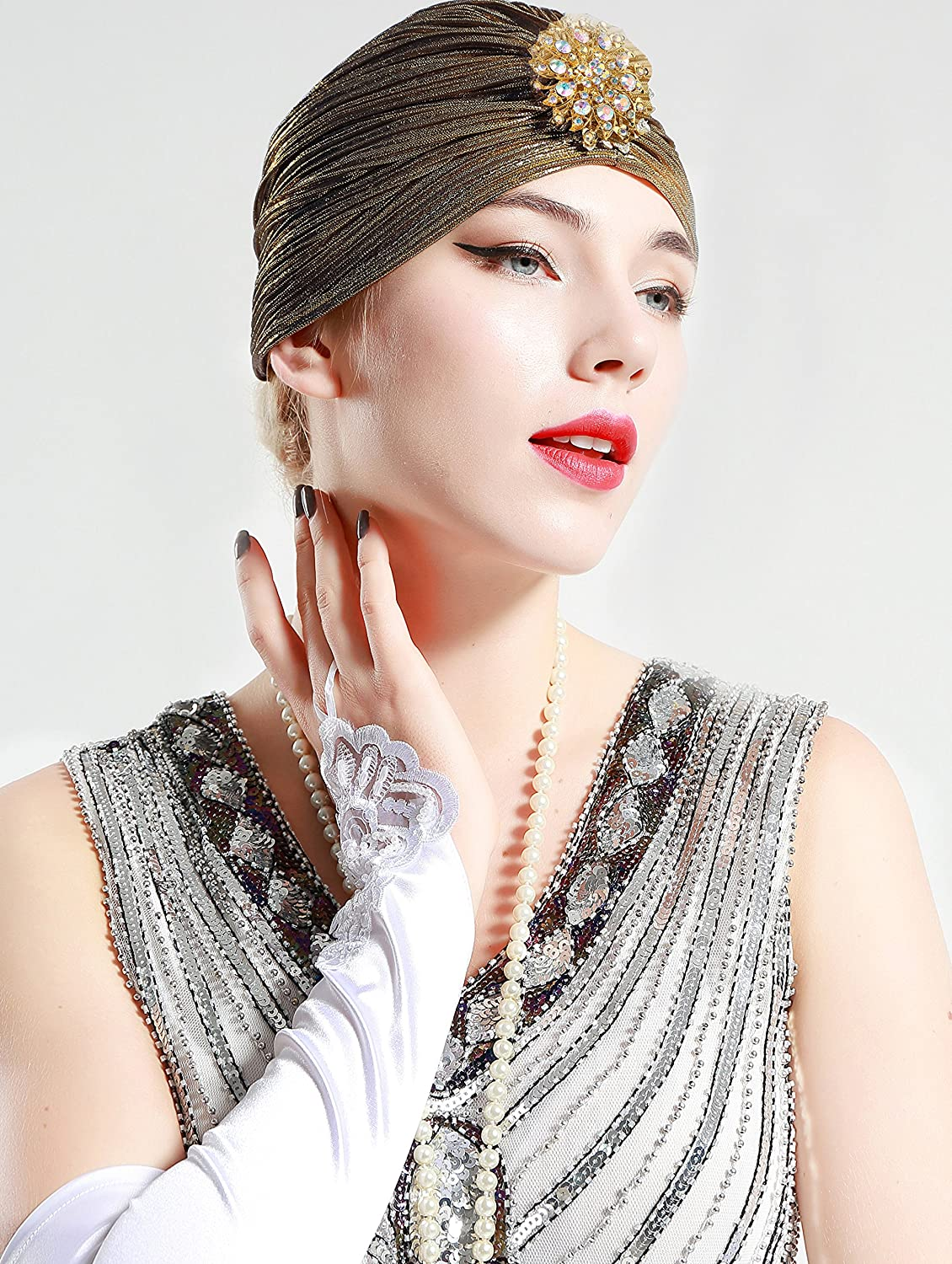 Women's Vintage Hats | Old Fashioned Hats | Retro Hats BABEYOND Womens Ruffle Turban Hat Knit Turban Headwraps with Detachable Crystal Brooch for 1920s Gatsby Party $11.99 AT vintagedancer.com