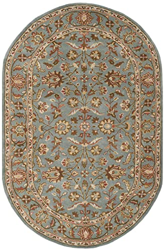 Safavieh Heritage Collection HG969A Handcrafted Traditional Oriental Blue Wool Oval Area Rug 7 6 x 9 6