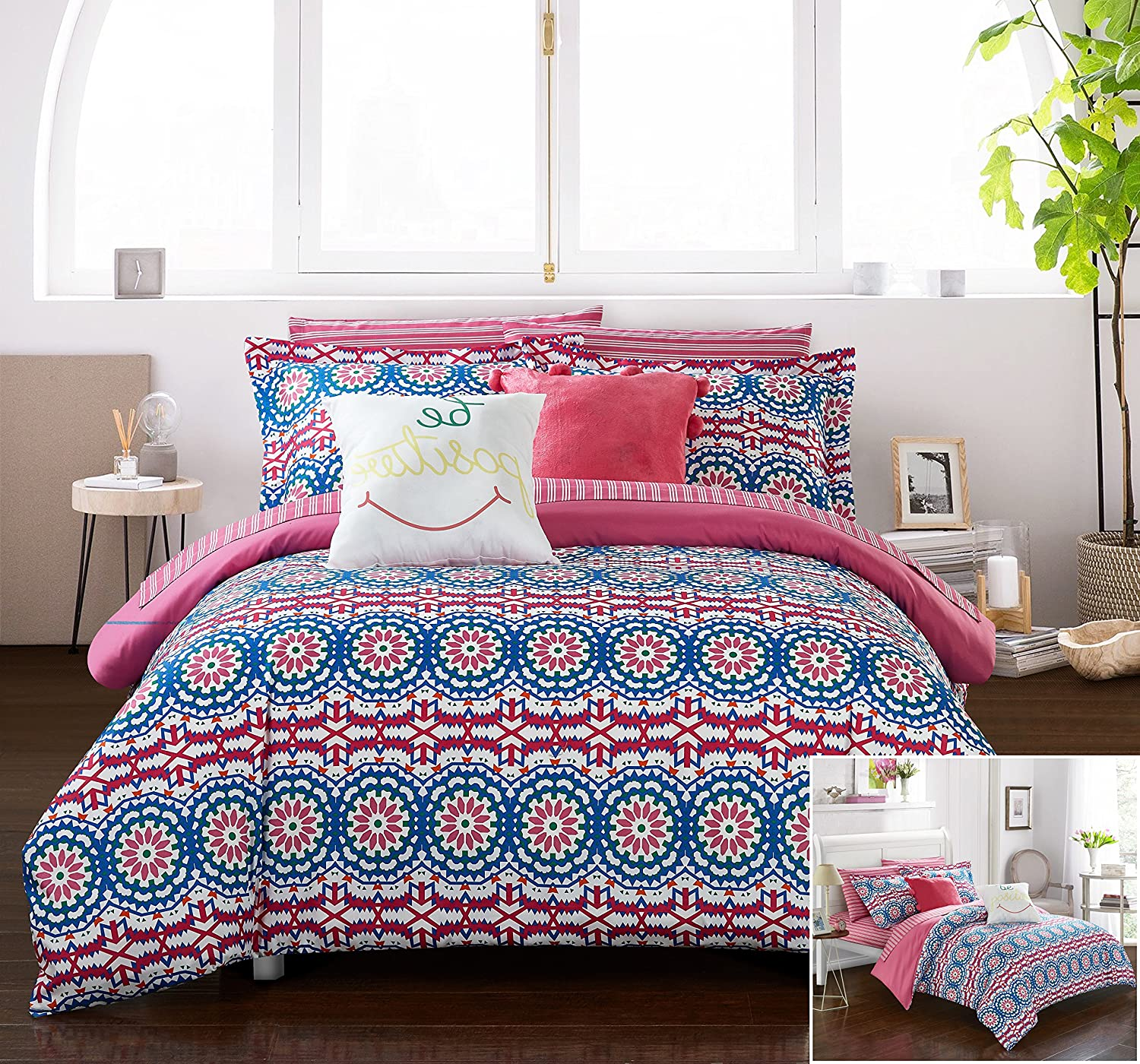 Chic Home 9 Piece Vedasto Reversible Contemporary Floral Bohemian Printed with Stripe Reversible Bed in a Bag, Luxury Pillows and sheetts Set Included. Full Comforter Set Fuschia