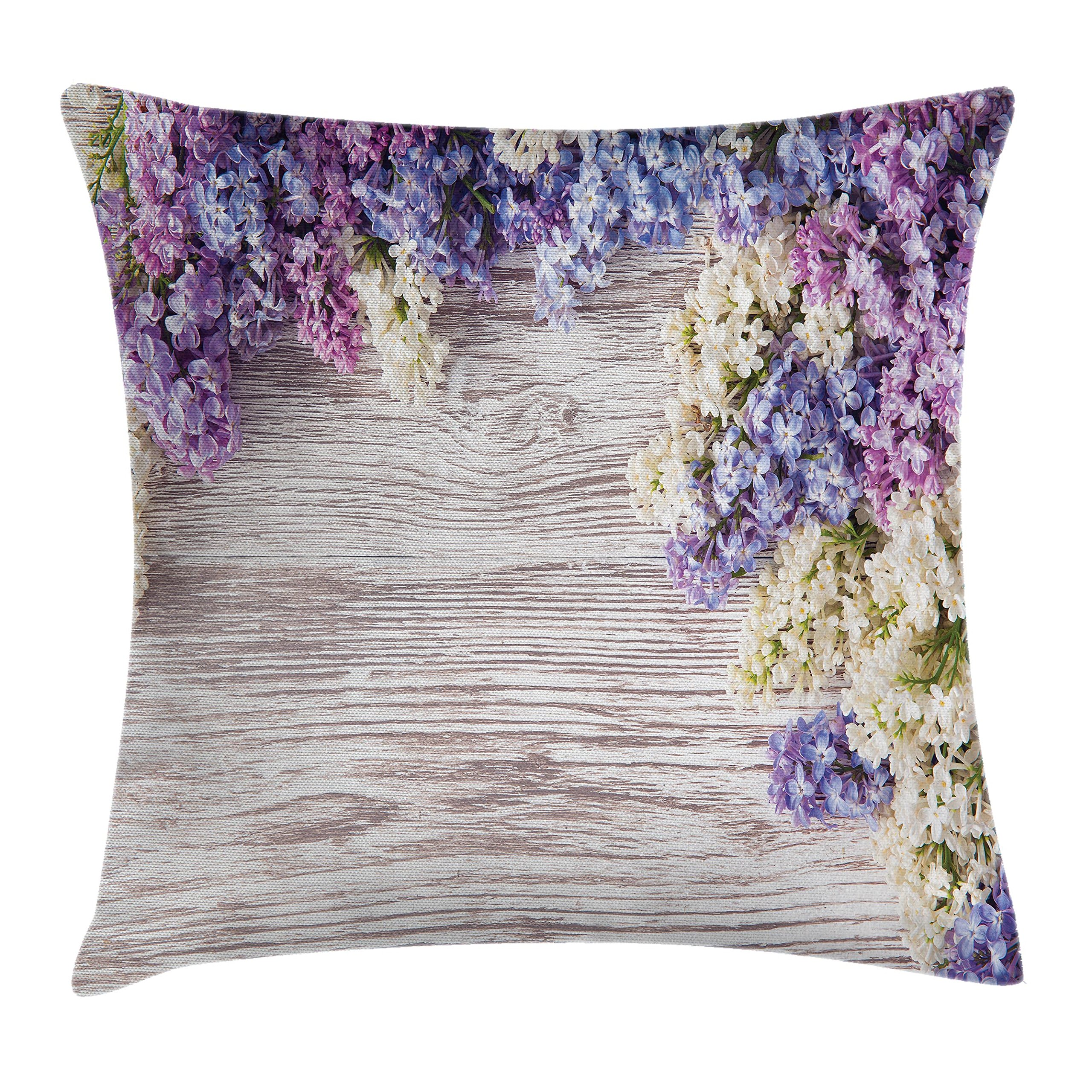 Ambesonne Rustic Home Decor Throw Pillow Cushion Cover, Lilac Flowers Bouquet on Wood Table Spring Nature Romance Love Theme, Decorative Square Accent Pillow Case, 16 X 16 Inches, Violet Brown