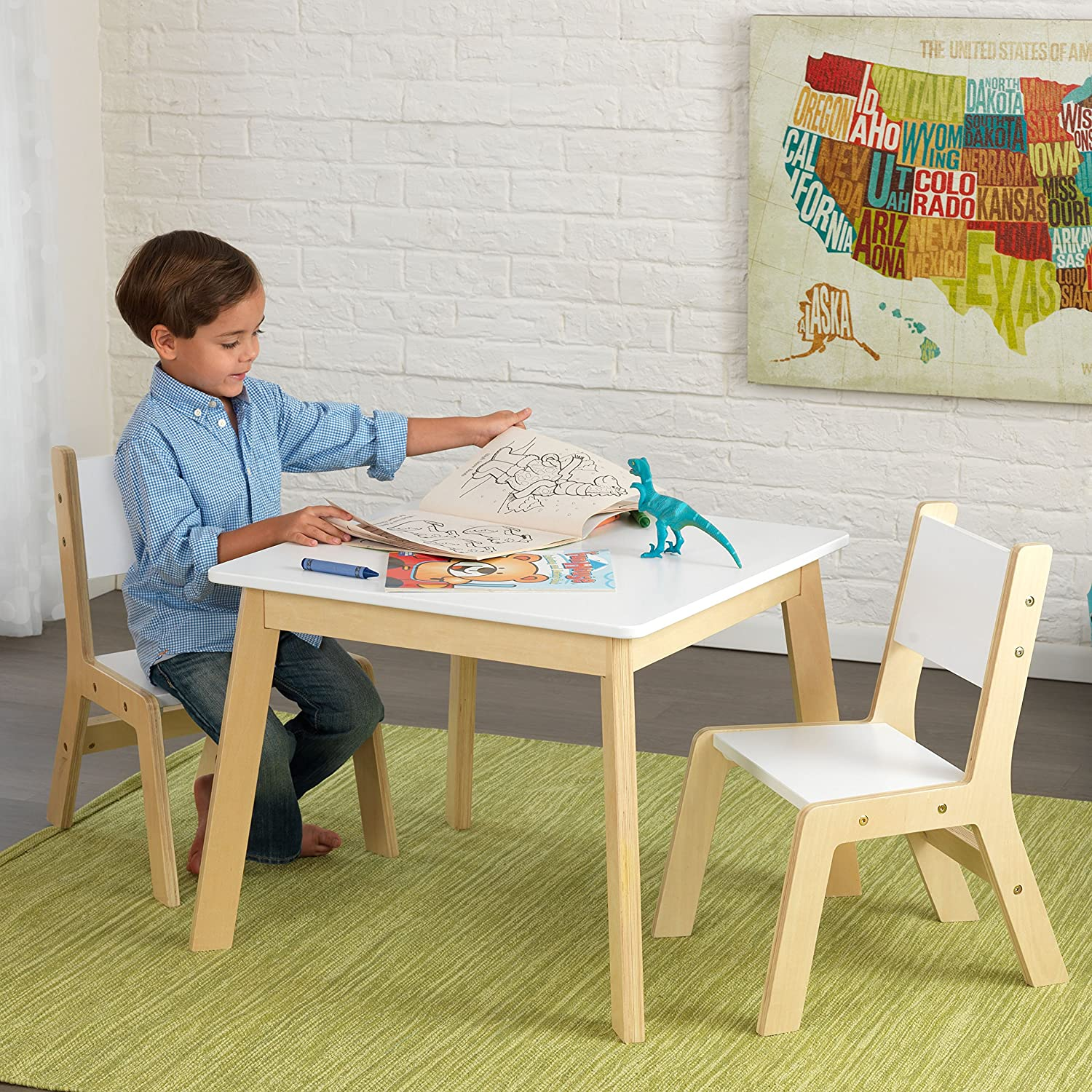 Amazon.com: KidKraft Modern Table and 2 Chair Set: Toys \u0026 Games