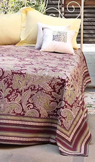 The Shop Printed 100% Cotton Double Size Bedsheet/Bed Cover - 90x108 inches Kashmir Wine