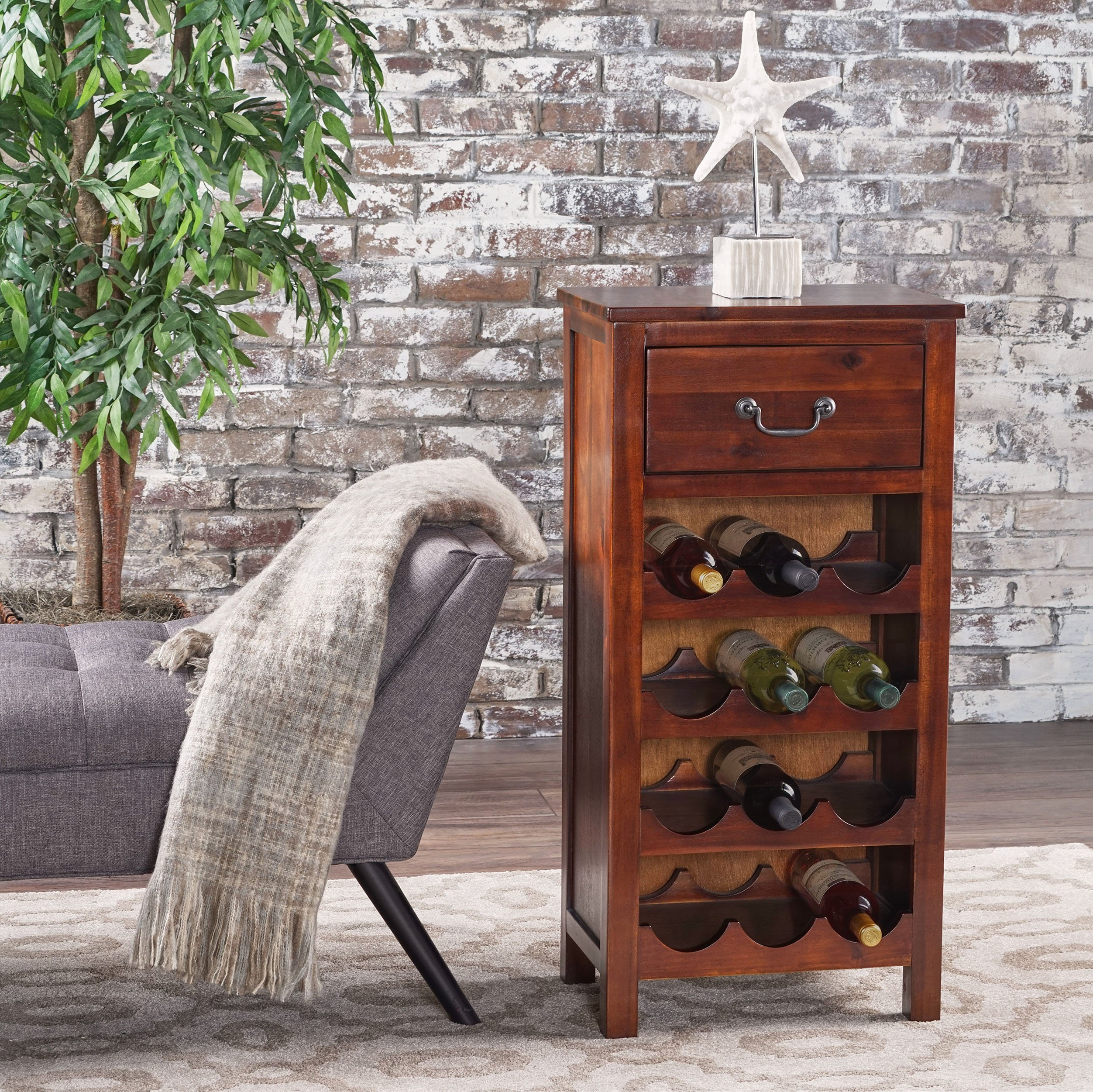 Shelby Rich Mahogany Acacia Wood with Faux Wood Overlay Wine Rack by GDF Studio (Image #2)