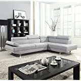 Divano Roma Furniture Modern Contemporary Linen Sectional Sofa with Adjustable Arm - Light Grey