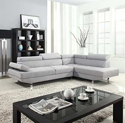 Divano Roma Furniture Modern Contemporary Linen Sectional Sofa With  Adjustable Arm   Light Grey