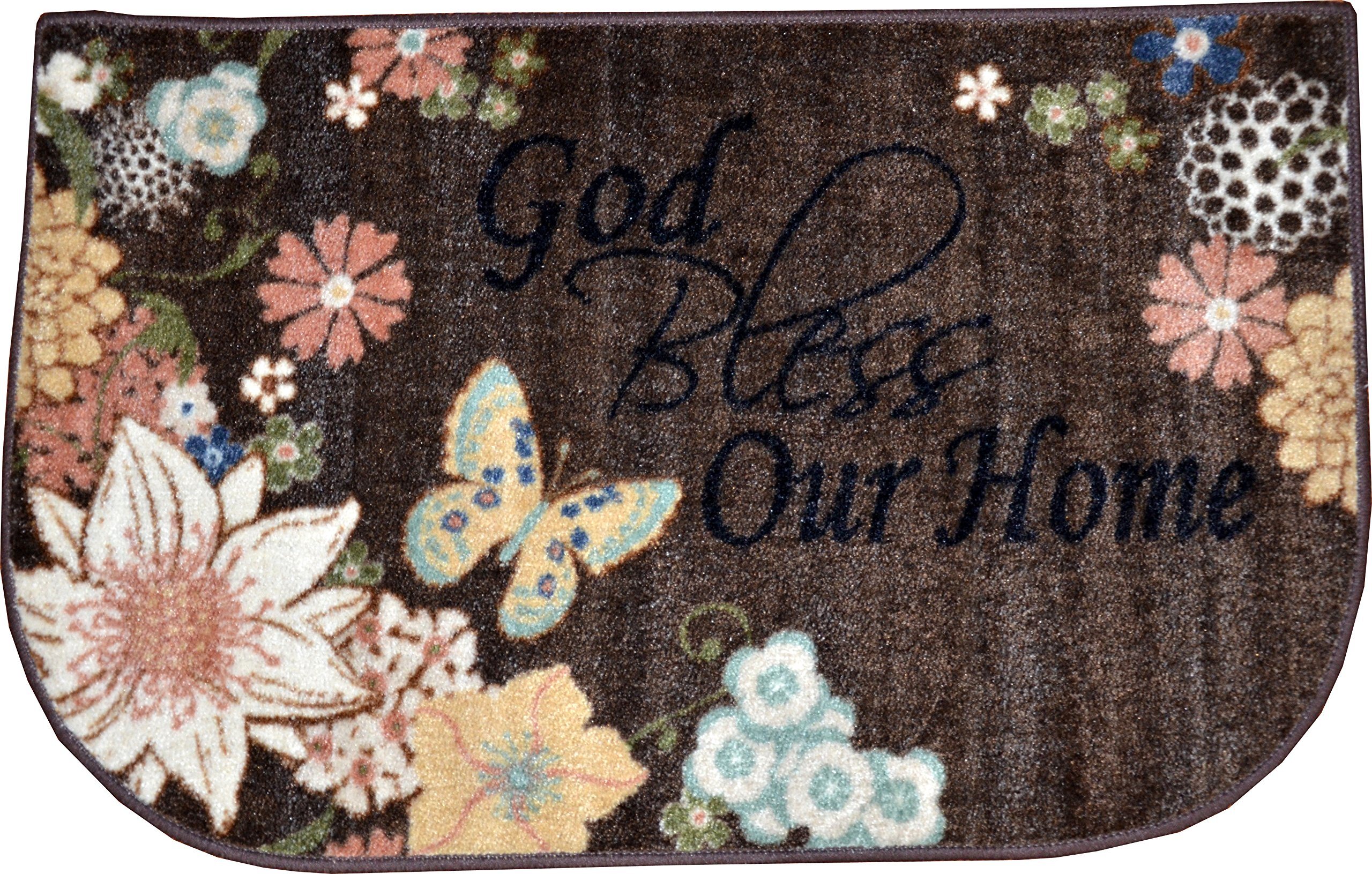 Dean Washable Non-Skid ''God Bless Our Home'' Christian Faith Bible Based Carpet Runner Mat/Rug 20'' x 32''