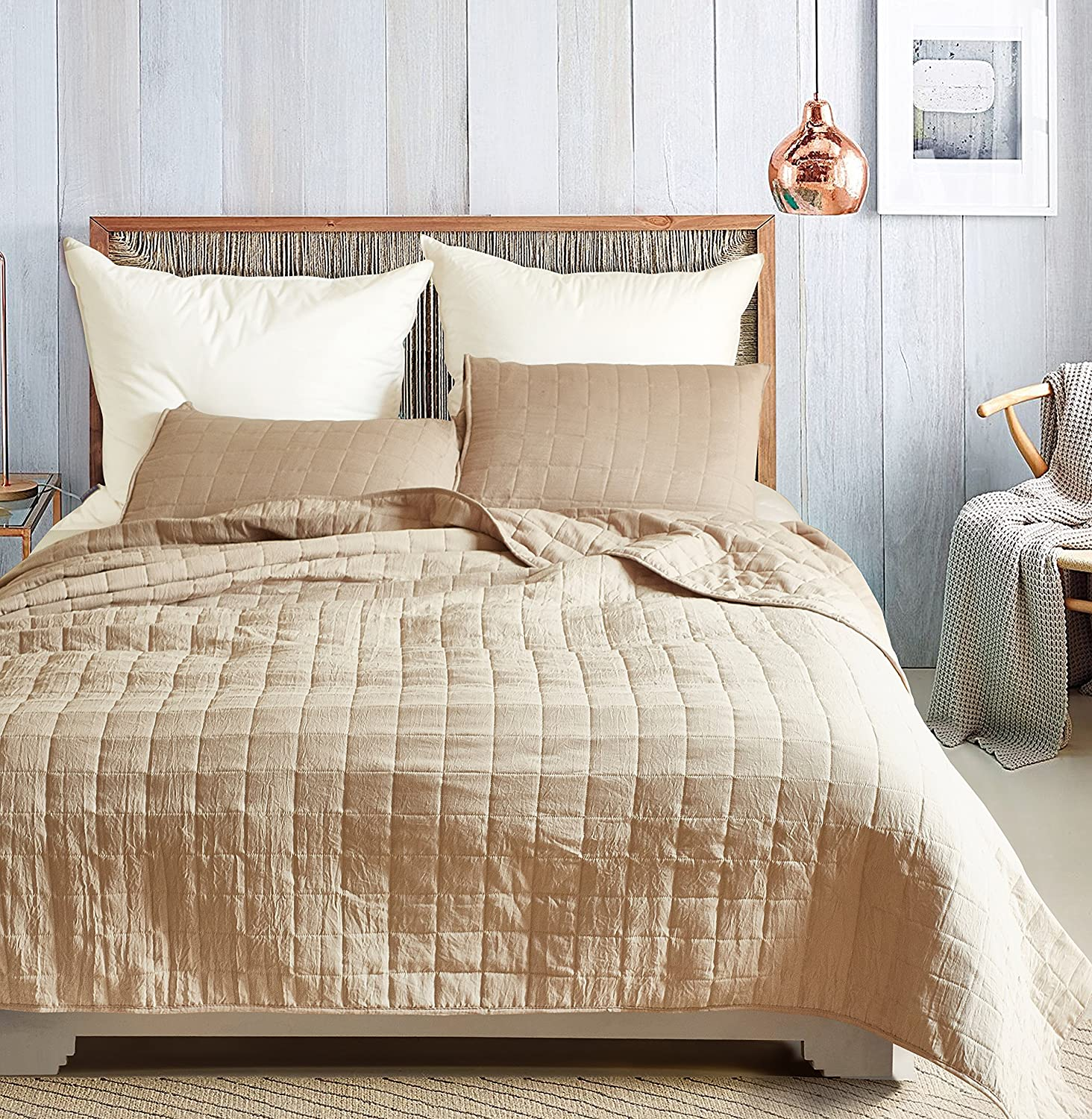 DuShow Solid King Bedspread Set 3 Pieces Geometric Soft Taupe Coverlet Set