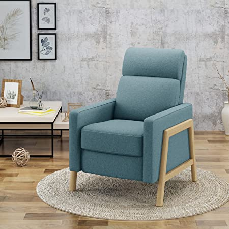 Great Deal Furniture Chris Mid Century Modern Fabric Recliner in Blue