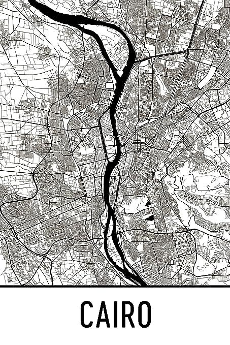 Amazon.com: Modern Map Art Cairo Print, Cairo Art, Cairo Map, Cairo ...