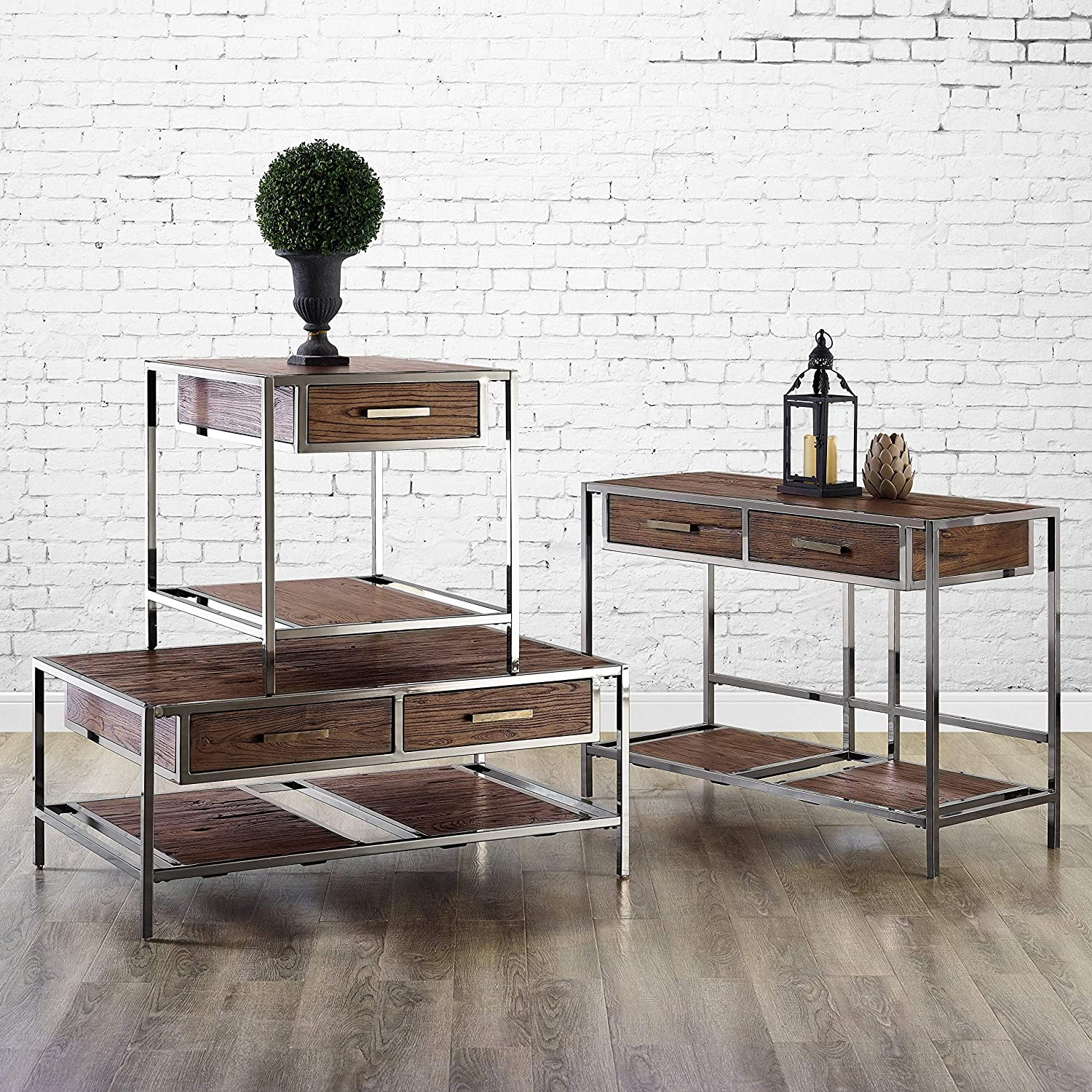 Pulaski Modern Industrial-Style Wood and Metal Sofa table Brown
