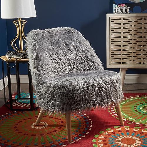 Soho Glam Faux Fur Chair – Shaggy Faux Fur Accent Chair – Faux Sheepskin Chair
