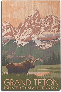 product image for Lantern Press Grand Teton National Park, Wyoming - Moose and Mountains (10x15 Wood Wall Sign, Wall Decor Ready to Hang)