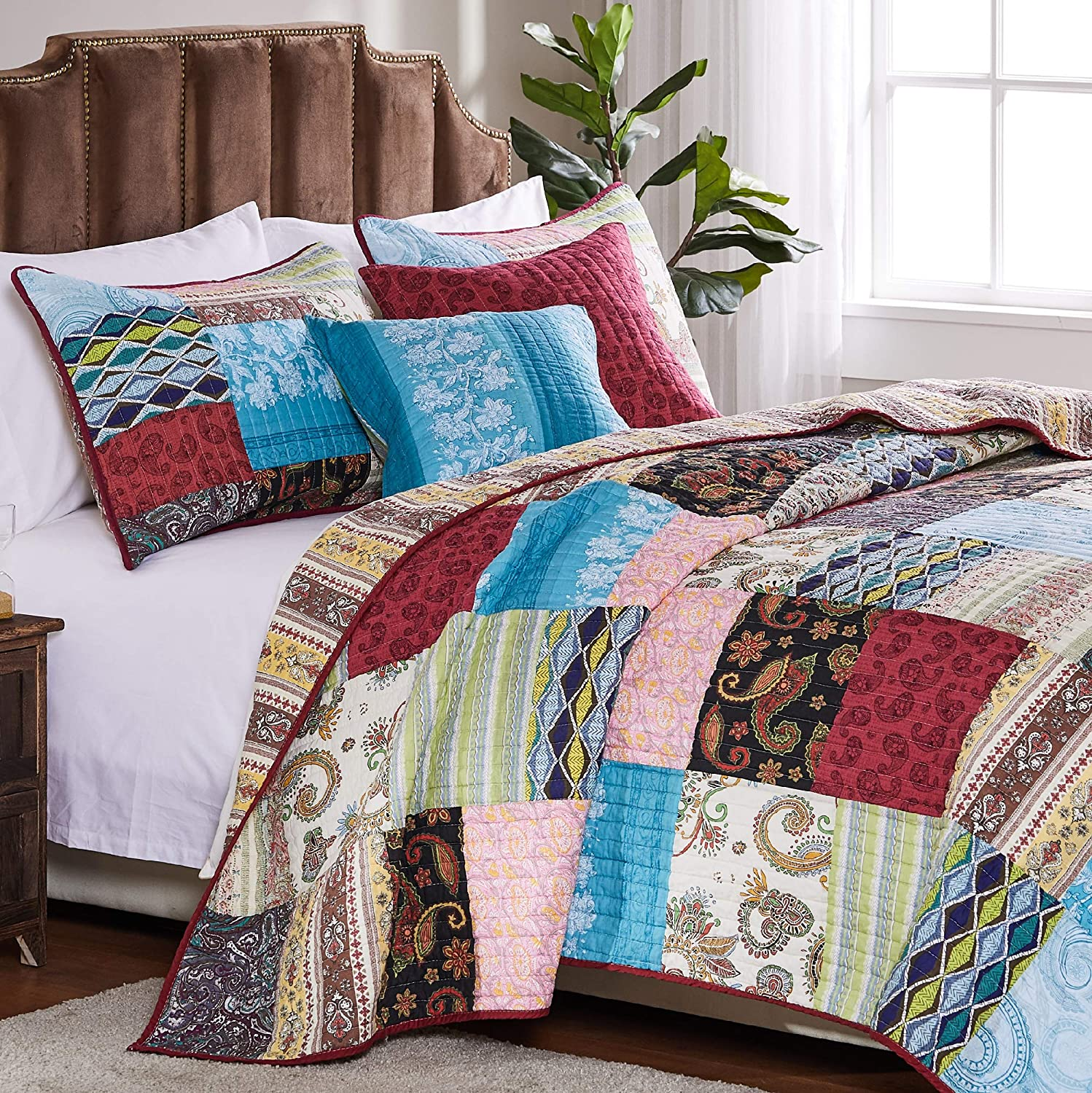 Greenland Home Bohemian Dream Quilt Set, 5-Piece King/Cal King, Multi