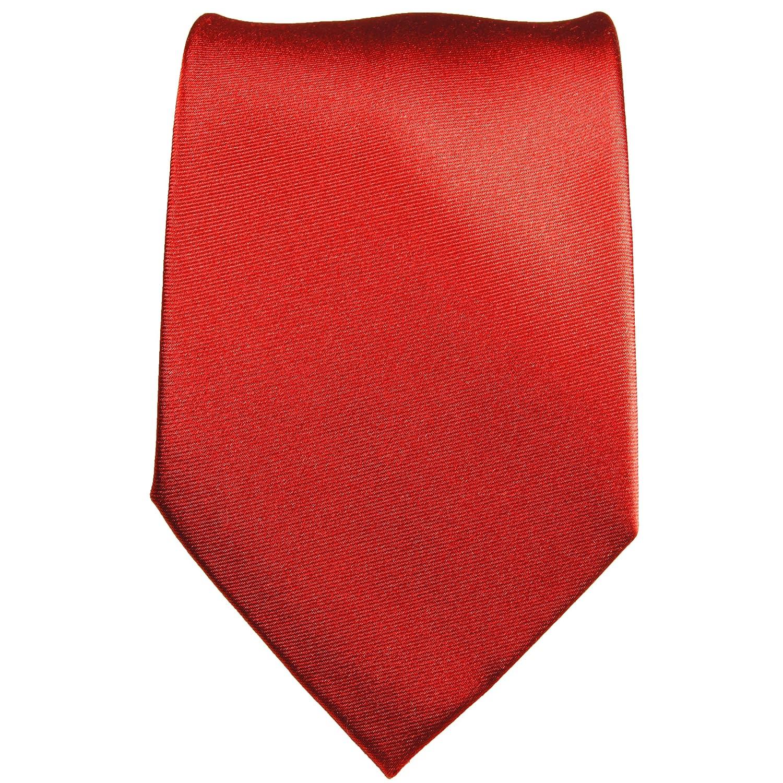 Paul Malone Krawatten Set 3tlg 100/% Seide rot uni satin Normall/änge, Extralang oder schmal