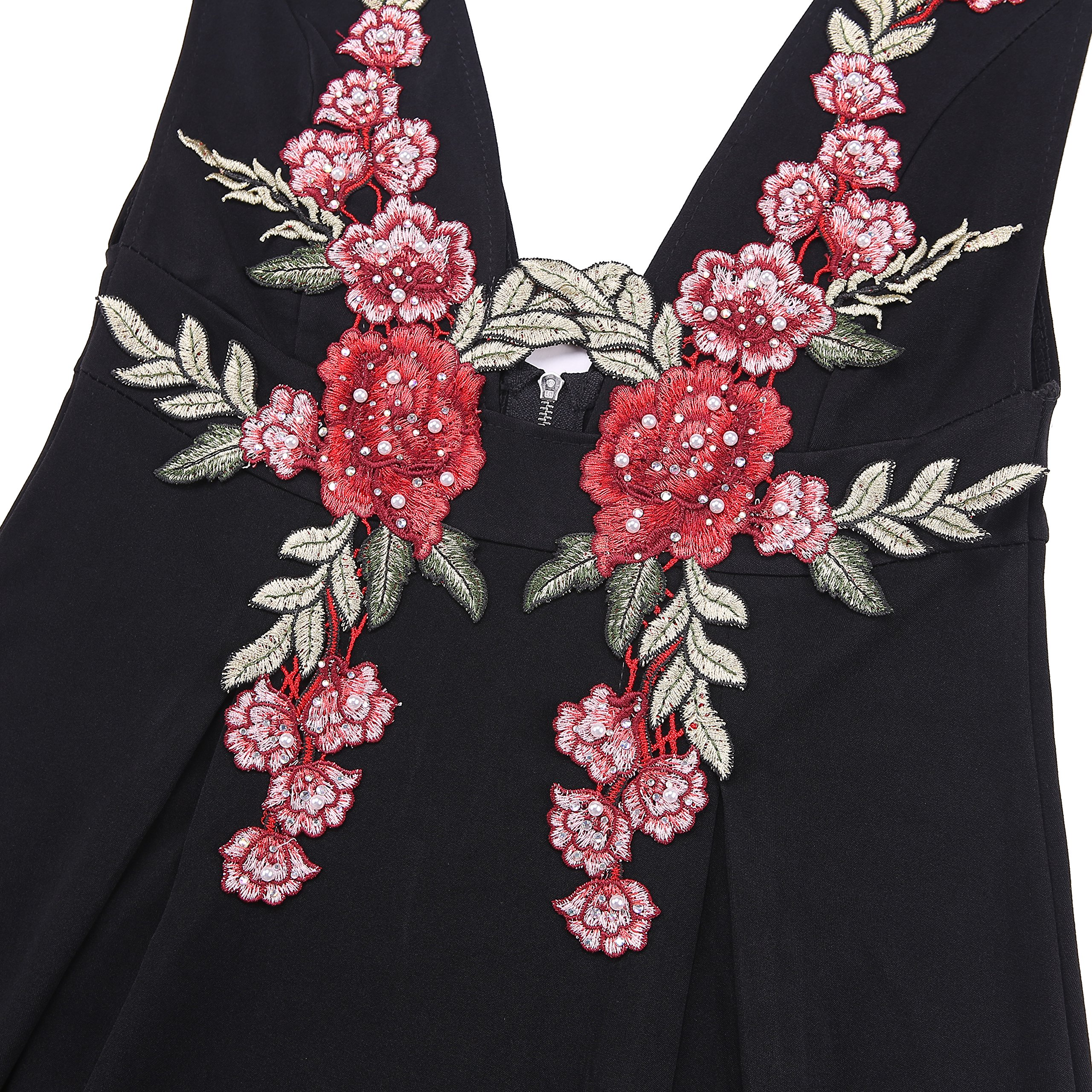 Goddess Area Women\'s Deep V Neck High Waist A Line Flower Print Cocktail Vintage Midi Dress (L, Black)