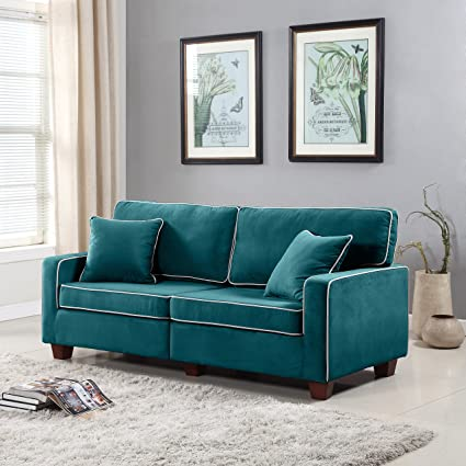 Exceptional Divano Roma Furniture Collection   Modern Two Tone Velvet Fabric Living  Room Love Seat Sofa (
