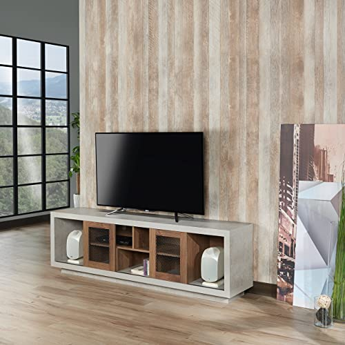 ioHOMES Vaike Industrial Sliding Door, Multiple Open Shelves TV Stand, 70 , Distressed Walnut