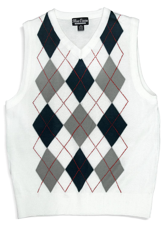 Blue Ocean Kids Argyle Sweater Vest-12-14/Medium SV-255BOYS-White-12-14/Medium