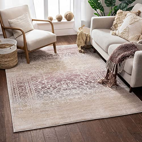 Well Woven Celine Lavender Persian Vintage Medallion 9×13 9'3'' x 12'6'' Area Rug Purple Modern Distressed Oriental Carpet