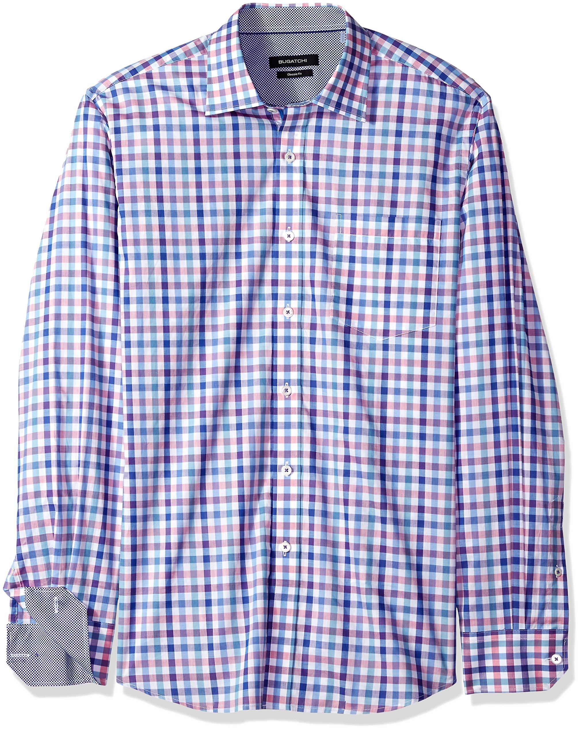 Bugatchi Men's Cotton Print Classic Fit Long Sleeve Point Collar Shirt, Classic Blue, XL by Bugatchi (Image #1)