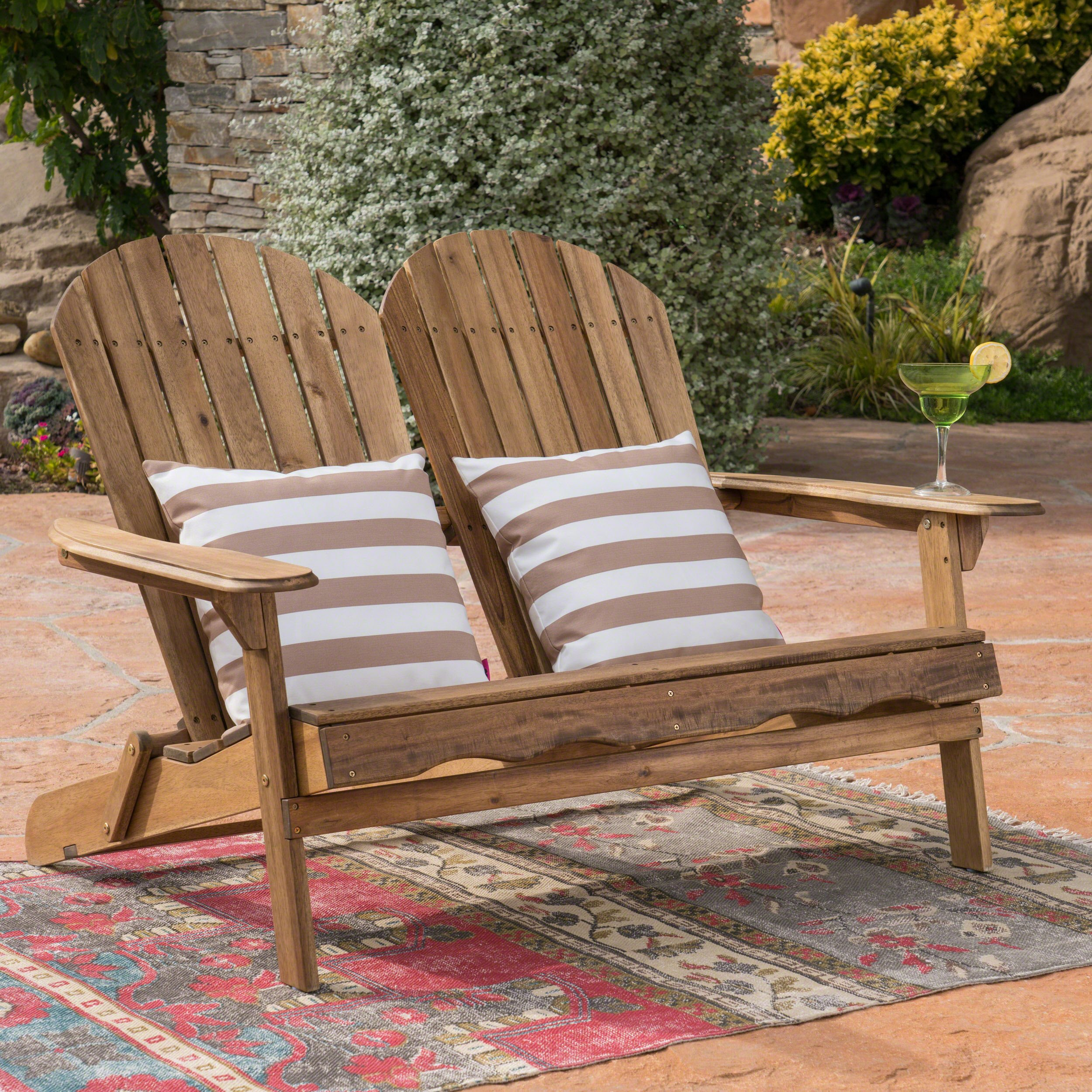 Great Deal Furniture Muriel Outdoor Natural Finish Acacia Wood Adirondack Loveseat