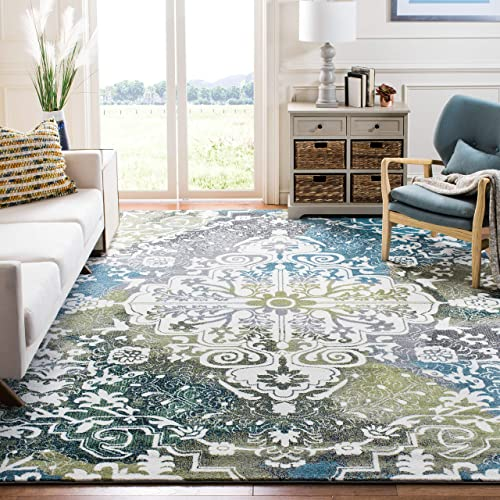 Safavieh Water Color Collection WTC669B Ivory and Peacock Blue Area Rug, 8 x 10