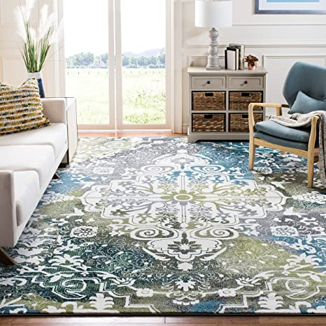 Safavieh Water Color Collection Wtc669b Ivory And Peacock Blue Area Rug 6 7 X 9 Amazon Ca Home Kitchen