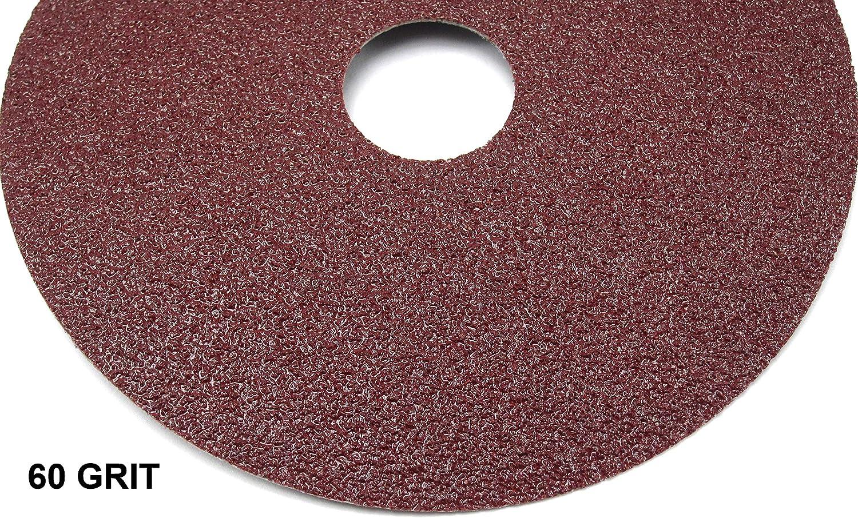 Elitexion Aluminum Oxide Resin Fiber Discs, 100 Grit, 60 Grit, 50 Grit, 40 Grit, 4.5 inches Diameter x 7/8 inch Arbor Hole, Pack of 20 - -