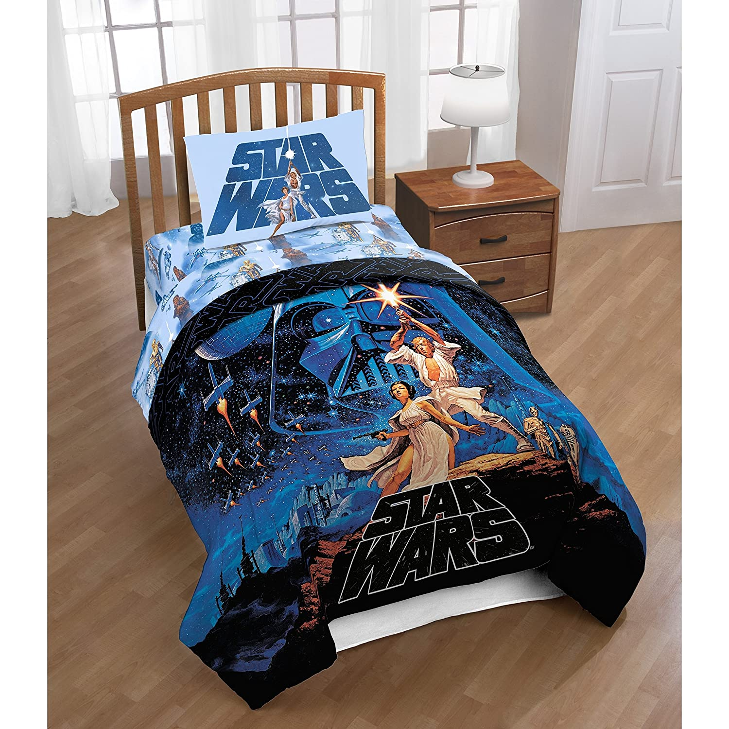 1 Piece Boys Blue Star Wars Themed Reversible Comforter Full Queen Size, Colorful Black Starwars Movie Bedding Classic Characters Princess Leia & Han Solo Print, Bold Fun Cosmic Design, Soft Polyester