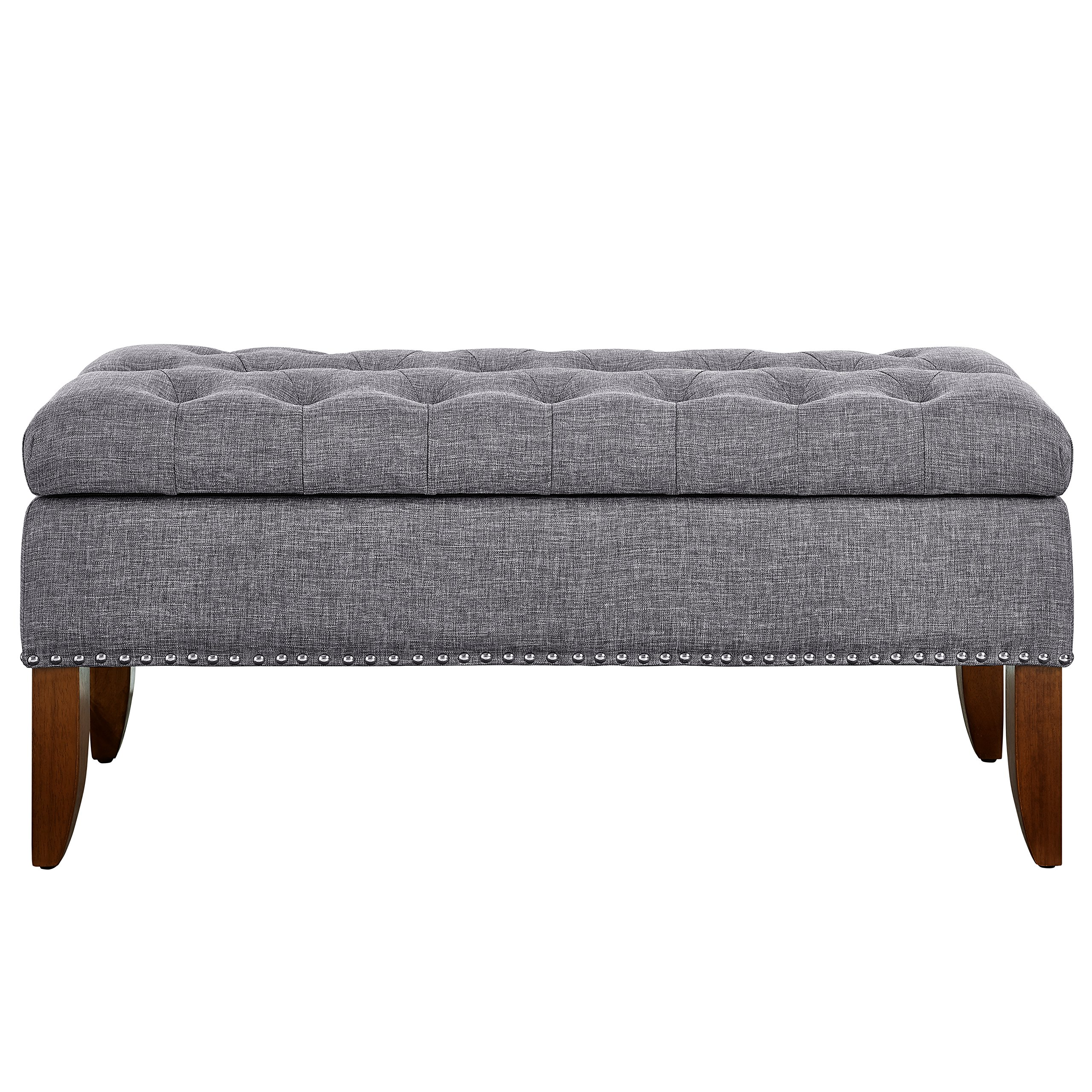 Pulaski DS-D107003-620 Hinged Top Button Tufted Bed Heathered Grey, 41.50'' W x 15.75'' D x 18.50'' H Upholstered Storage Bench, by Pulaski