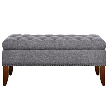 Pulaski DS-D107003-620 Hinged Top Button Tufted Bed Heathered Grey, 41.50  W x 15.75  D x 18.50  H Upholstered Storage Bench,