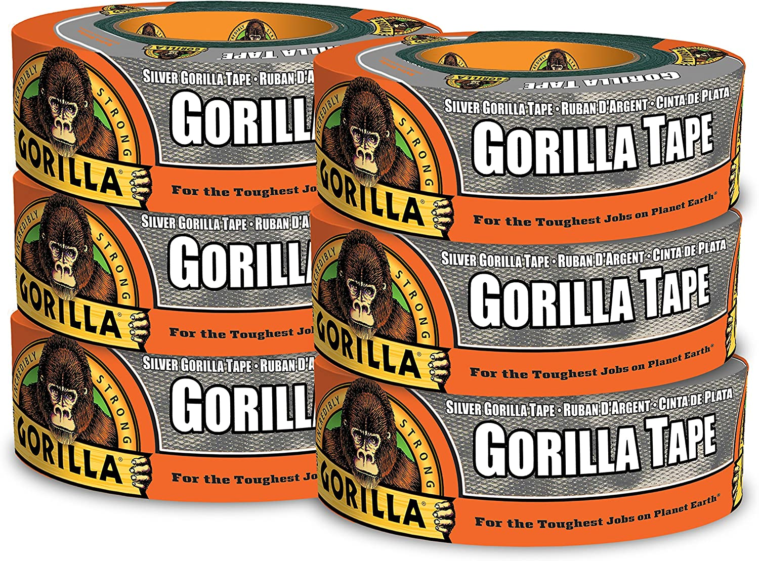 """Gorilla Silver Duct Tape, 1.88"""" x 35 yd, Silver, (Pack of 6)"""