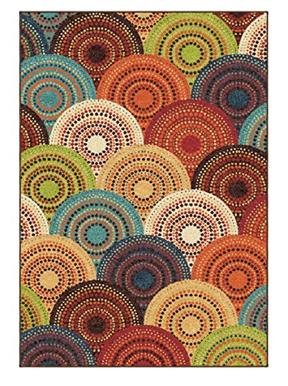 Amazoncom Area Rug Contemporary Style Multi Color Carpet Red Green
