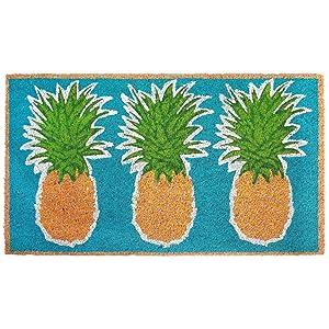 """Liora Manne NTR12203504 Natura Coastal Beach Pineapples Aqua Outdoor Welcome Coir Door Mat, 18"""" X 30"""""""