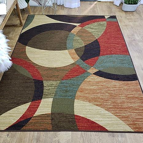 Area Rug 5x7 Colored Circles Kitchen Rugs mats | Rubber Backed Non Skid Rug  Living Room Bathroom Nursery Home Decor Under Door Entryway Floor Non Slip  ...