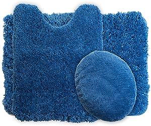 Lavish Home 3-Piece Super Plush Non-Slip Bath Mat Rug Set, Blue