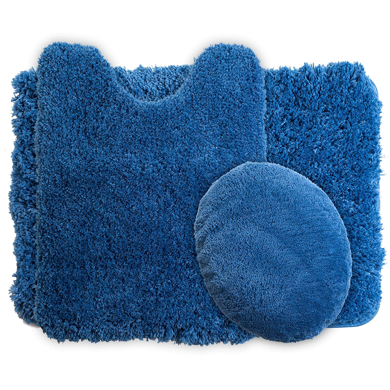 Platinum 67-14-P Lavish Home 3-Piece Super Plush Non-Slip Bath Mat Rug Set