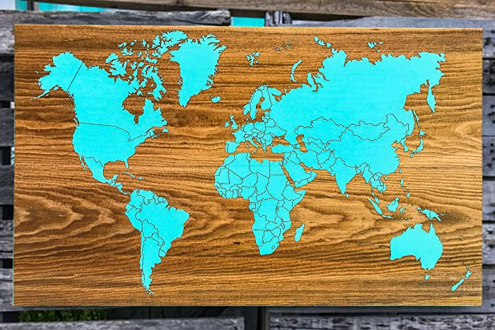 Amazon blank world map wood engraved map handmade blank world map wood engraved map gumiabroncs Image collections