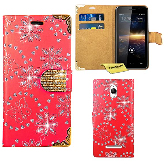Vodafone Smart 4 Turbo Case, FoneExpert Bling Luxury Diamond Leather Wallet Book Bag Case Cover