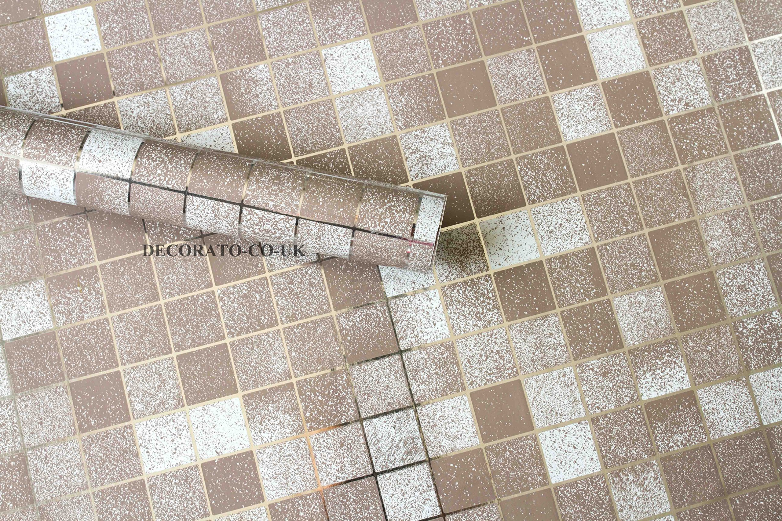 5m Brown Mosaic Check Vinyl Pvc Self Adhesive Kitchen Glitter Sticky Back Plastic Buy Online In Aruba At Desertcart